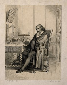 V0004515 Blaise Pascal, seated at his desk. Line engraving by J. Bein